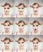 Multiple faces expressions — Stock Photo