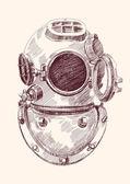 Antique divers helmet — Stock Vector