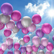 flying colorful balloons — Stock Photo