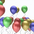 Stock Photo: Flying colorful balloons