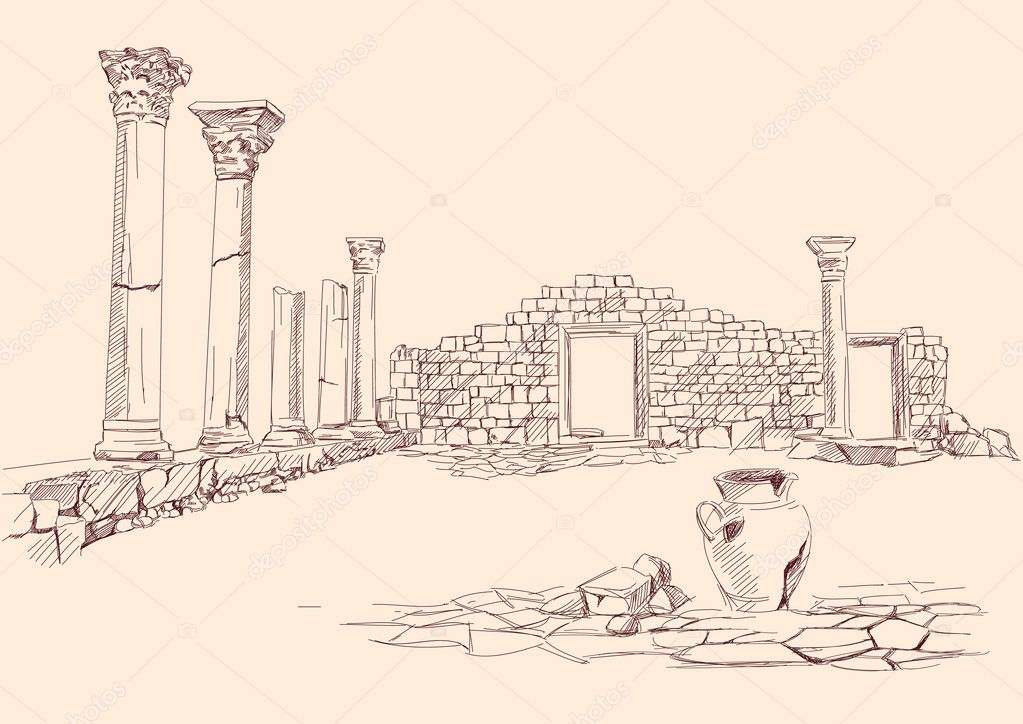 Ruins of temple  hand drawn vector llustration — Imagen vectorial #11838913