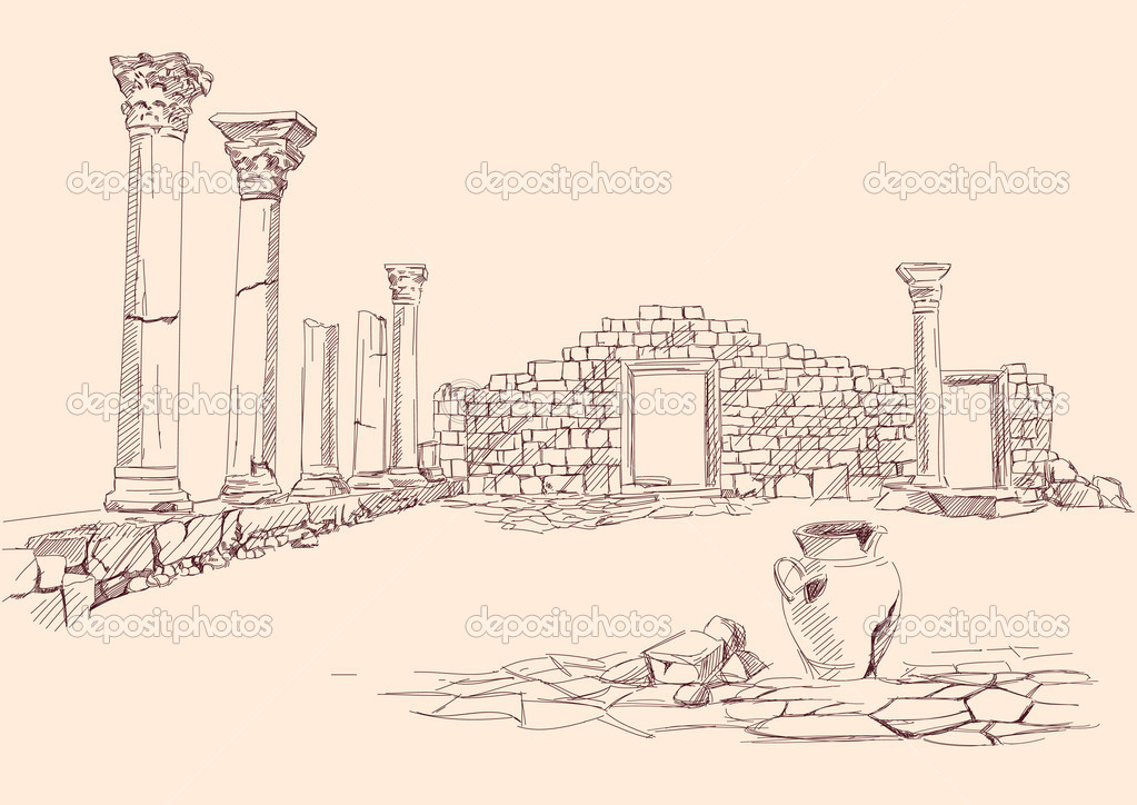 Ruins of temple  hand drawn vector llustration — ベクター素材ストック #11838913