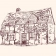 Stock Vector: Old English house