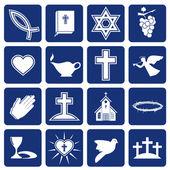 Conjunto de ícones do vetor do cristianismo religioso — Vetorial Stock