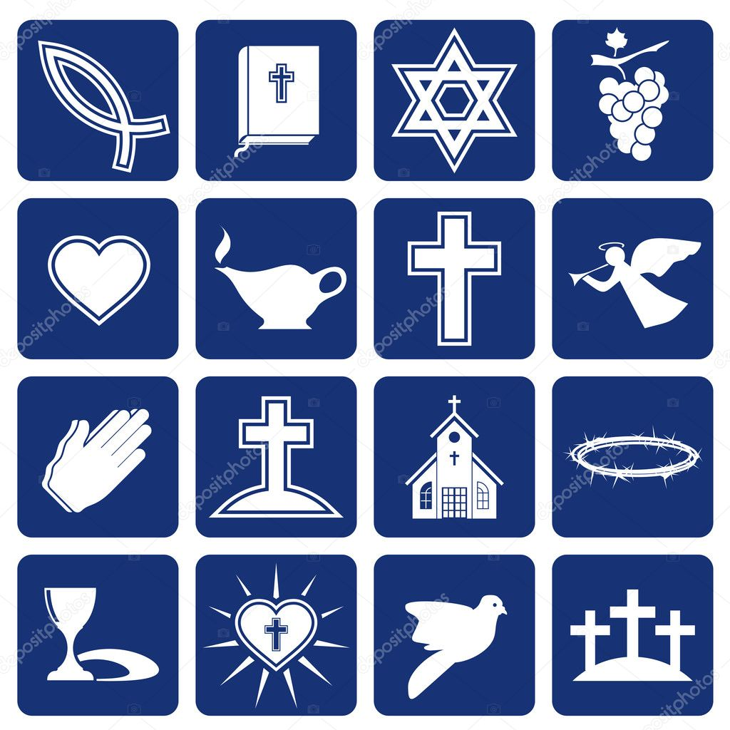 Set of vector icons of religious christianity signs and symbols — Stock Vector #12301841