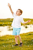 Boy Chasing Bubbles — Stock Photo