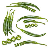 Collection of green peppers — Stock Photo