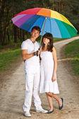 Couple in the summer rain — Stock Photo