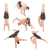 Set of young man acrobatics gymnastic — Stock Photo