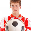 Soccer player holding a ball — Stock Photo #11408912