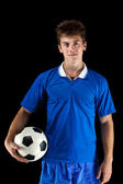Soccer player whit ball — Stock Photo