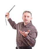 Człowiek odrobina pałką — Zdjęcie stockowe