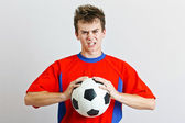 Angry soccer player — Stock Photo