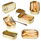 Collection of tin can whit mackerel — Stock Photo