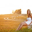Woman on summer meadow — Stock Photo