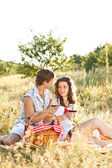 Young couple in meadow — Stock Photo