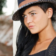 Fashion model in hat — Stock Photo