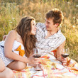Young couple in meadow — Stock Photo #11954767