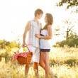 Young couple on picnic — Foto de Stock