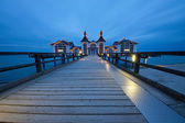 Pier of Sellin on a cloudy evening — Stock Photo