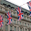 British flags in the street — Stock Photo