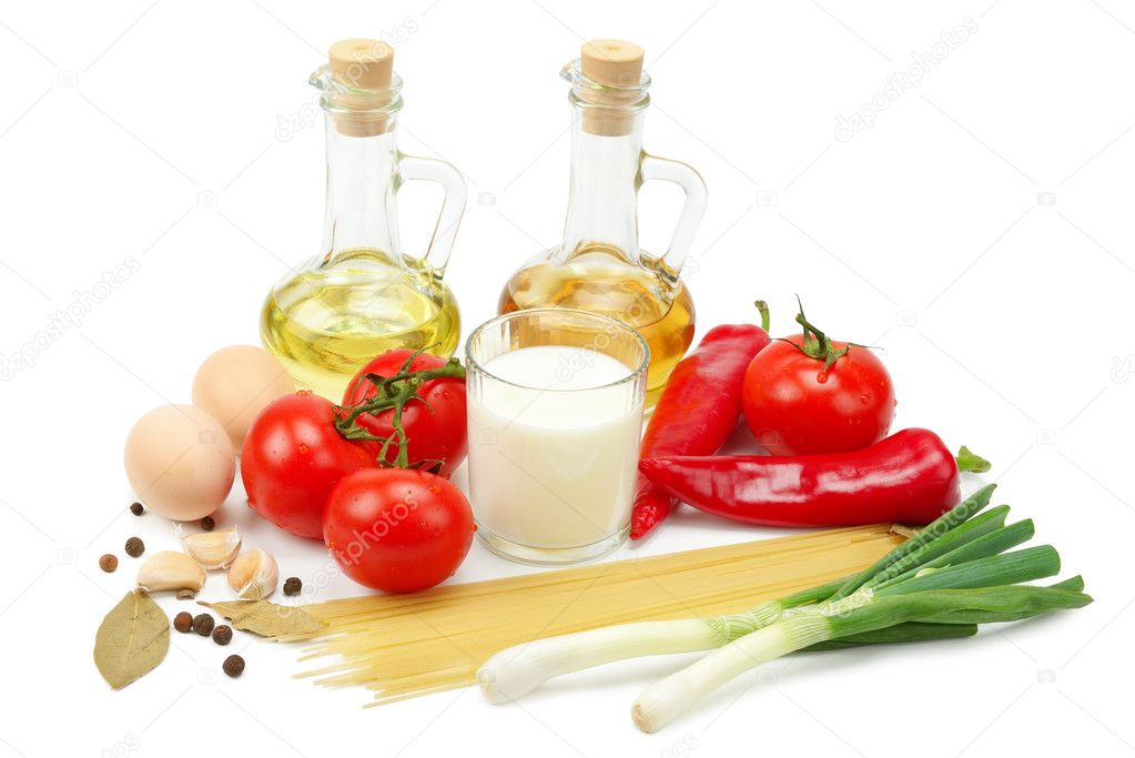 Collection of natural products isolated on a white background — Photo #11120930