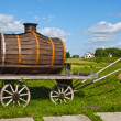 Royalty-Free Stock Photo: Old wooden wagon with a barrel