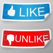 Like and unlike label. — Stock Vector