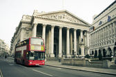 Red london bus city architecture — Stock Photo