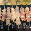 Many roast meat pieces on skewer. shish kebab cooking process — Stock Photo #11301525