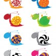 Snail funny set - Stock Vector