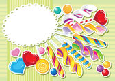 Sweets sticker background — Stock Vector