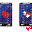 Stock Vector: Puzzle smart phone and heart