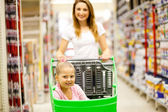 Mother and daughter in shopping mall — Stock Photo
