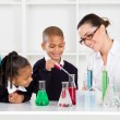 Science teacher and students — Stockfoto