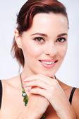 Pretty woman closeup head shot with makeup — Stock Photo