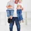 Happy father and sons — Stock Photo