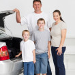 Happy family ready for a fun road trip — Stock Photo