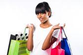 Happy shopping indian girl — Stock Photo