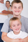 Happy brothers hugging — Stock Photo