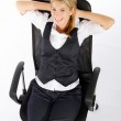 Businesswoman sitting in office chair and relaxing — Stock Photo #11140954