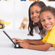 Indian brother and sister playing laptop computer — Stock Photo