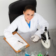 Female science researcher in lab — Stock Photo