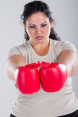 Plus size woman with boxing gloves — Stock Photo
