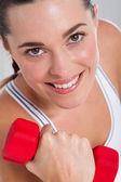 ダンベル運動フィットネス女性 — ストック写真