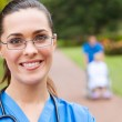 Female doctor portrait outdoors — Stock Photo