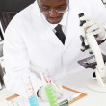Male african american lab technician — Stock Photo