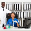 Two african american scientists — Stock Photo