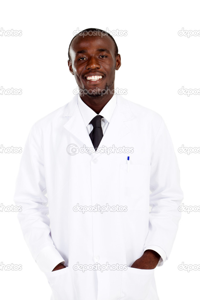 Portrait of african american pharmacist on white — Stock Photo #11281480