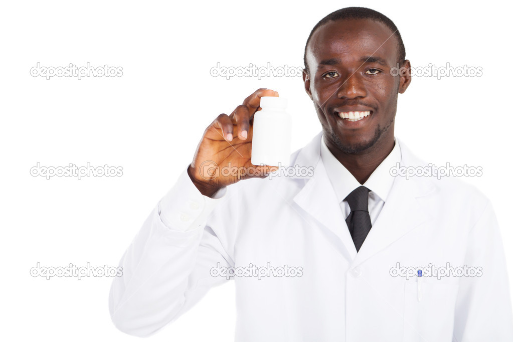 African american pharmacist holding a medicine bottle — Stock Photo #11281485